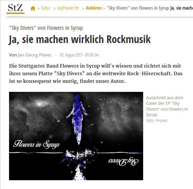 Stuttgarter Zeitung kopfhörerfm Review on SkyDivers